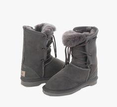Grey Kids Lacey UGG Boots #grey #aussie #ugg #uggboots #australian #australia #sheepskin #boots #laces #kids