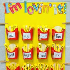 """Big"" words wall.  This is a great way to save wall space to display writing words.  Students can look through the word ""fries"" to help with writing!"