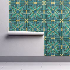 Wallpaper Roll Floral Tiles Teal Blue Faux Gold Turquoise Art Deco 24in x 27ft  | eBay
