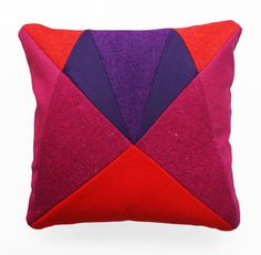 Pink and Purple AU 'After Upholstery' patchwork cushion