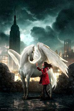 Jason Chan Art - Pegasus: The Flame of Olympus (Pegasus, #1) by Kate O'Hearn