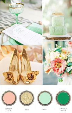 gold peach mint and emerald wedding color palette….love for a spring wedding! Im thinking April or May! gold peach mint and emerald wedding color palette….love for a spring wedding! Emerald Wedding Colors, Emerald Color, Emerald Green, Mint Green, Wedding Colours, Gray Yellow, April Wedding Colors, Aquamarine Colour, Gold Colour