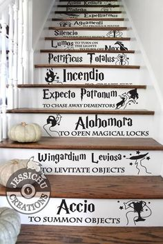 Harry potter spells stairs vinyl decal - home decor, jk rowling, hogwarts, slytherin Magie Harry Potter, Décoration Harry Potter, Estilo Harry Potter, Harry Potter Bedroom, Harry Potter Spells List, Houses Of Harry Potter, Harry Potter Magic Words, Harry Potter House Colors, Harry Potter Script