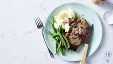 An easy, healthy and filling mid-week meal to satisfy meat lovers everywhere. Mushroom Sauce, Mushroom Chicken, 28 By Sam Wood, Stuffed Mushrooms, Stuffed Peppers, Meat Lovers, Steak Recipes, Green Beans, Healthy Recipes