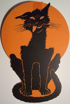 Vintage Halloween Cat Diecut (best halloween cut out EVER) Halloween Cut Outs, Halloween Ii, Retro Halloween, Spirit Halloween, Holidays Halloween, Halloween Crafts, Happy Halloween, Halloween Decorations, Halloween Ideas