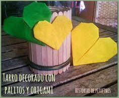Aprende a decorar un tarro con #palitos de helados, mira qué sencillo  #diy #manualidades http://blgs.co/55702Z