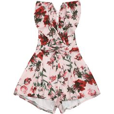 Floral Ruffles Cut Out Romper ($25) ❤ liked on Polyvore featuring jumpsuits, rompers, cutout romper, ruffle romper, jump suit, floral romper and playsuit romper