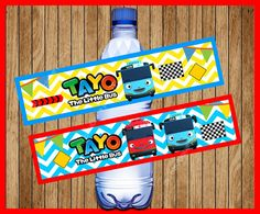Tayo the Little Bus Water Bottle Label instant download
