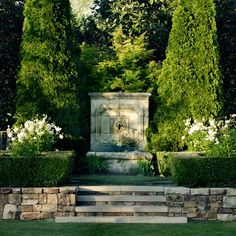 Garden Fountains focal points, on axis Water Features In The Garden, Garden Features, Formal Gardens, Outdoor Gardens, Landscape Design, Garden Design, Boxwood Garden, Fountain Design, Villa