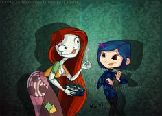 The Nightmare Before Christmas- Coraline and Sally Estilo Tim Burton, Tim Burton Art, Tim Burton Style, Cartoon Crossovers, Disney Crossovers, Neil Gaiman, Big Hero 6, Nightmare Before Christmas, Coraline Jones
