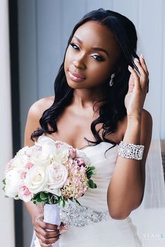 4b2dde1fe34f1 Bridal Hairstyles   36 Black Women Wedding Hairstyles black women wedding  hairstyles loose curls African Wedding