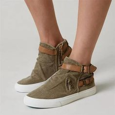 57710e2d7 Canvas Ankle Boots Flat Heel Buckle Booties with Zipper Casual Heels, Women's  Casual, Wedge
