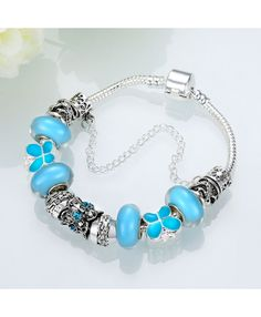Blue Crystal With Silver Plated Beads And Blue Glass Beads Bracelet