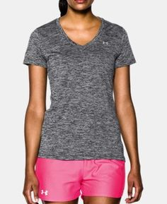 Under Armour Women's Twisted Tech V-Neck Shirt, Size: Medium, Black Half Zip Sweaters, Athletic Outfits, Grey Shirt, Athletic Women, Under Armour Women, Short Sleeve Tee, V Neck T Shirt, Clothes For Women, Work Clothes