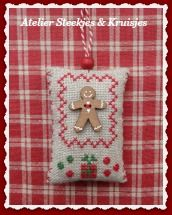 gingerbread cross stitched ornament