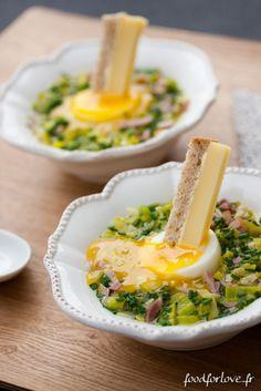 œufs mollets Poireaux et Jambon Blanc, Mouillettes à lEmmental de Savoie