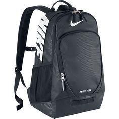 Nike Team Training Max Air Large Backpack ($50) ❤ liked on Polyvore featuring bags, backpacks, black, school & day hiking backpacks, nike, black bag, nike backpack, water resistant bag and black rucksack