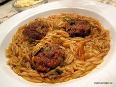 Giouvesti with Keftedes or Greek meatballs with orzo