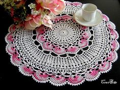 Crochet White doily Large doily White and Pink doily Table