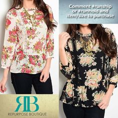 Floral & Lace  - Floral & Lace Crop blouse $22 in Ivory or black