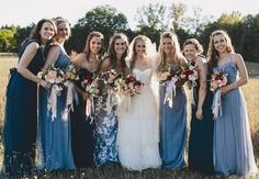 Shades of Blue and Coordinating Floral Print Mismatched Bridesmaid Dresses | E.C. Campbell Photography | Blog.TheKnot.com