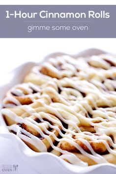1-Hour Cinnamon Rolls Recipe -- truly easy to make, but they taste like you've spent hours on them! | gimmesomeoven.com