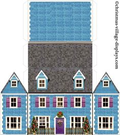 printable christmas house template bluebell cottage - Printable Pages Christmas Village Display, Christmas Village Houses, Putz Houses, Christmas Villages, Paper Doll House, Paper Houses, Christmas Paper, Christmas Home, Paper Crafting