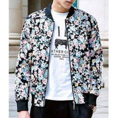 Fashion Stand Collar Slimming Colorful Floral Print Rib Splicing Long Sleeve Polyester Sun-Proof Coat For Men