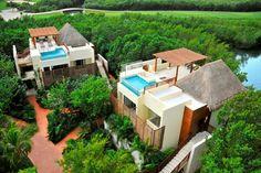 Casita rooftop swimming pools at Fairmont Mayakoba Resort & Spa, Riviera Maya, Mexico