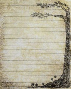 Printable Journal Page Pen and Ink Drawing of a Tree by InkedInk