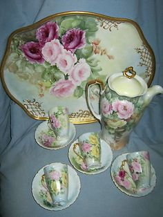 """Breathtaking Limoges Hand Painted 16"""" Gilted Tray and Chocolate Pot Set w/Roses"""