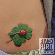 Ladybug tattoo on stomach new school by Anton Nikitin Lady Bug Tattoo, P Tattoo, Latest Tattoos, Great Tattoos, Beautiful Tattoos, Four Leaf Clover Tattoo, Clover Tattoos, Time Tattoos, Body Art Tattoos