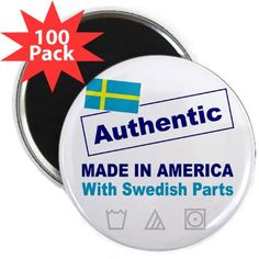 """Made in America with Swedish 2.25"""" Magnet (100 pa"""