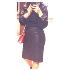 Black Slim Fitting Skirt Black slim fit skirt fully lined with invisible zipper. In great condition, worn a few times. Halogen Skirts Midi
