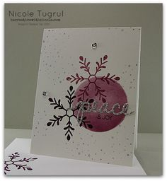 """By Nicola Tugrul, from becreativewithnicole.com, Stampin' Up! """"Holly Jolly Greetings"""" stamp set and """"Christmas Greetings"""" Thinlits ..."""