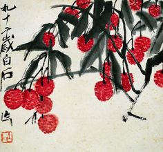 amare-habeo:    Qí Báishí (齐白石 - 齊白石) (Chinese,  1864 – 1957)   Litchi fruits, N/D Ink Painting