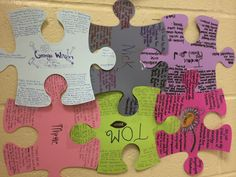Puzzling character activity Have students create puzzle pieces for each of the main characters and have them arrange according to their relationships in the text