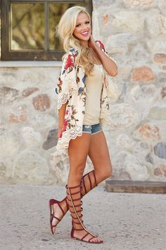 I would be interested to try a kimono for a cute light layer to wear with shorts this summer! Plus the lace detail is cute! Beyond Compare Floral Kimono from Closet Candy Boutique #fashion #ootd