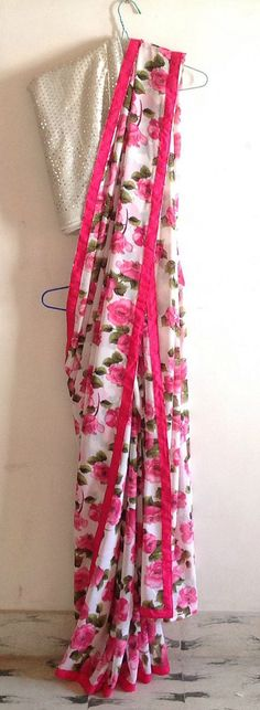 Off white printed georgette saree with hot pink trim and sequin blouse by GiaExquisiteIndian on Etsy Floral Print Sarees, Printed Sarees, Indian Dresses, Indian Outfits, Indian Clothes, India Fashion, Asian Fashion, Women's Fashion, Indian Attire