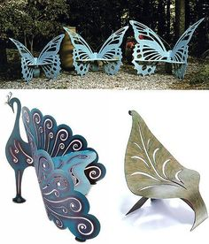 unique garden benches - Bing Images DIY Garden Yard Art When growing your own lawn yard art, recycle Butterfly Chair, Butterfly Design, Peacock Chair, Butterfly Plants, Butterfly Bush, Garden Chairs, Garden Furniture, Garden Benches, Outdoor Furniture