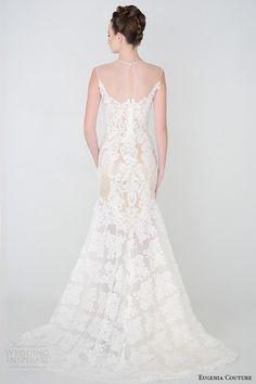 eugenia couture bridal spring 2015 collection sheer neckline sleevless lace a line sheath wedding dress eva 3924