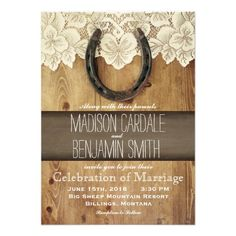 Rustic Country Western Horseshoe Lace Wedding Invitations