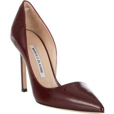 Manolo Blahnik Stresty Half d'Orsay Pumps ($289) ❤ liked on Polyvore featuring shoes, pumps, heels, red, red stiletto pumps, red shoes, red patent leather pumps, stiletto heel pumps and high heels stilettos