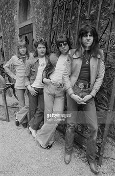 Posed portrait of British group The Sweet. Left to right are singer Brian Connolly, bassist Steve Priest, guitarist Andy Scott and drummer Mick Tucker on May Get premium, high resolution news photos at Getty Images 70s Music, Rock Music, 70s Artists, Sweet Band, 70s Glam Rock, Brian Connolly, Glam Metal, Thing 1, Boys Underwear