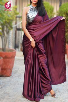 Buy Wine Satin Saree Online in India Satin Saree, Silk Sarees, Velvet Saree, Net Saree, Indian Sarees, Sari Bluse, Farewell Sarees, Sarees For Girls, Indische Sarees