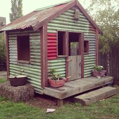 Shed Plans Against House Backyard Chicken Coops, Backyard Sheds, Chickens Backyard, Backyard Landscaping, Garden Sheds, Backyard Playground, Cubby Houses, Play Houses, Garden Structures