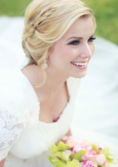 Dainty fishtail braid swooping into a chignon.Photo Credit: Julie Parker PhotographyHair and Makeup by Steph Possible bridesmaid hairdo for December? Short Wedding Hair, Wedding Hairstyles For Long Hair, Wedding Hair And Makeup, Bride Hairstyles, Pretty Hairstyles, Bridal Hair, Hair Makeup, Hairstyle Ideas, Wedding Braids