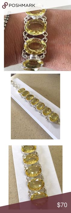 "LEMON TOPAZ GEMSTONE 925 SILVER BRACELET New without tags.  Gorgeous Lemon Topaz Gemstone Bracelet set in 925 Sterling Silver.  7.0""-8.0"" adjustable toggle closure.  Bracelet will be mailed in gift box. Jewelry Bracelets"
