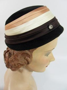 1960s black wool cloche hat by Brentshire.