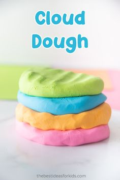 Make this super soft, no cook, cloud dough recipe! This homemade dough is really easy to make! Diy Crafts For Girls, Fun Diy Crafts, Craft Projects For Kids, Craft Activities For Kids, Summer Crafts, Toddler Crafts, Preschool Crafts, Toddler Activities, Sensory Activities